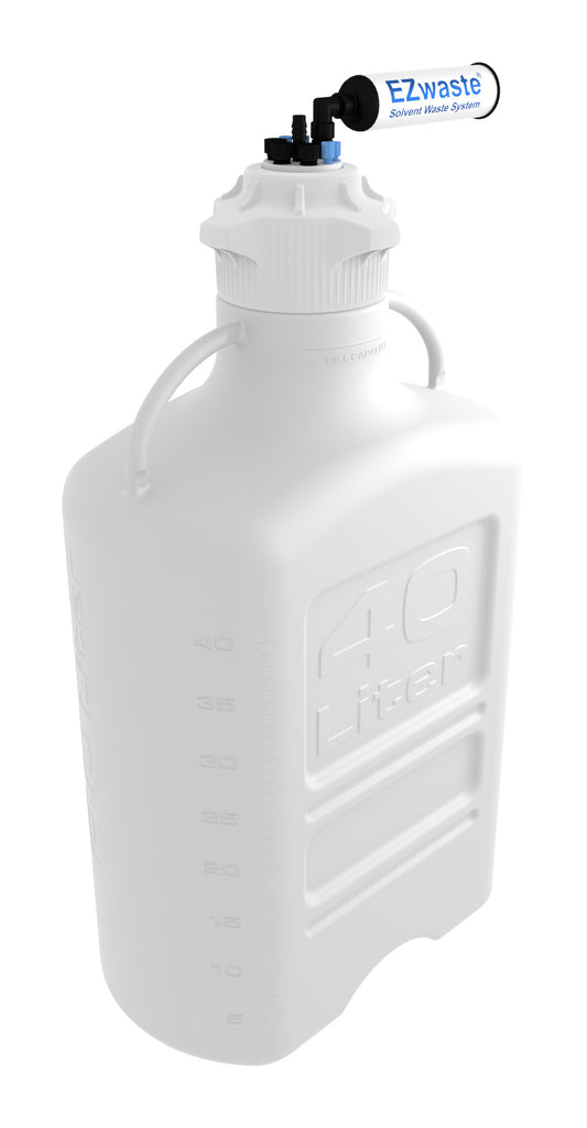 "EZwaste® XL Safety Vent Carboy 40L HDPE with VersaCap® 120mm, 4 Ports for 1/8"" OD Tubing, 3 Ports for ¼"" OD Tubing, 1 Port for 1/4"" HB or 3/8"" HB and a Chemical Exhaust Filter - SolventWaste.com"