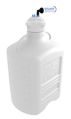 EZwaste® XL Safety Vent Carboy 75L HDPE with VersaCap® 120mm, 6 Ports for 1/8'' OD Tubing and a Chemical Exhaust Filter - SolventWaste.com