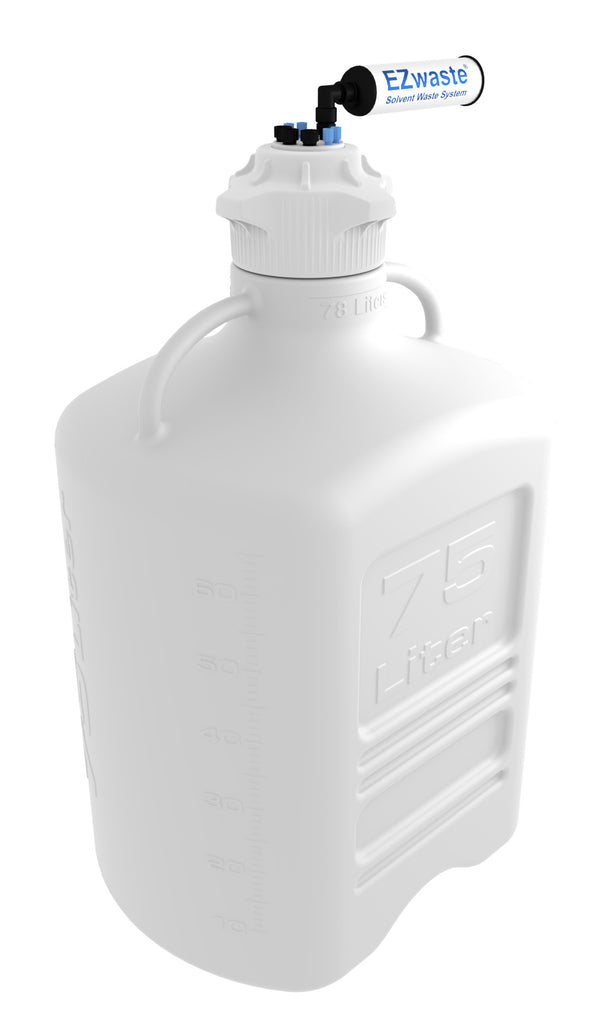 "EZwaste® XL Safety Vent Carboy 75L HDPE with VersaCap® 120mm, 4 Ports for 1/8'' OD Tubing, 3 Ports for 1/4"" OD Tubing, and a Chemical Exhaust Filter - SolventWaste.com"