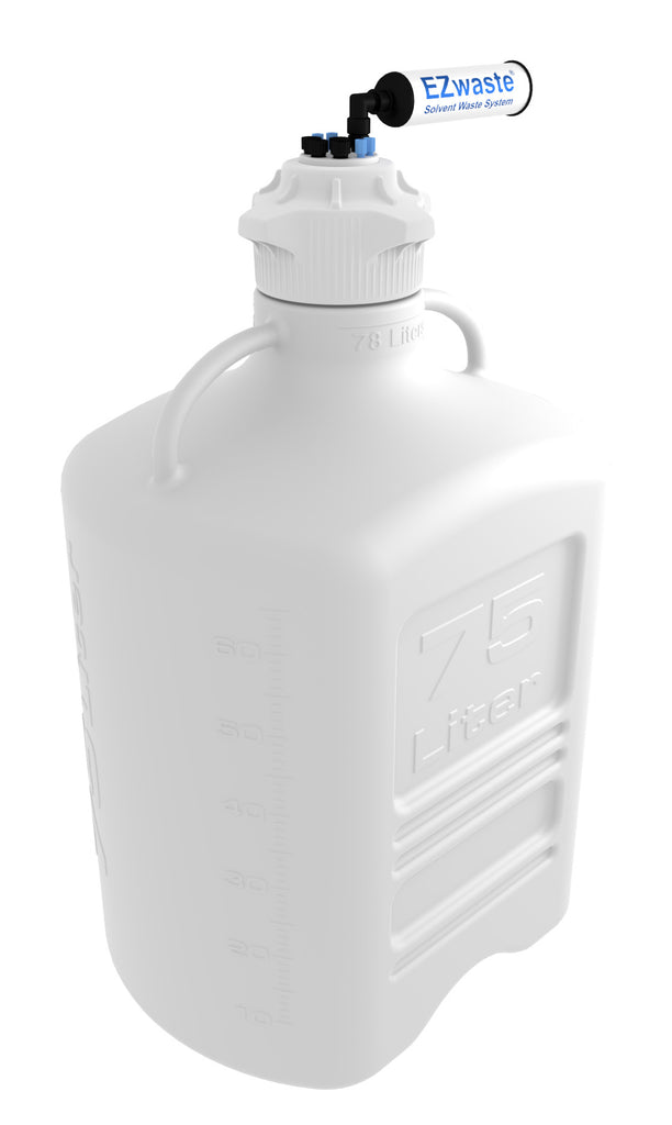 "EZwaste® XL Safety Vent Carboy 75L HDPE with VersaCap® 120mm, 4 Ports for 1/8"" OD Tubing, 4 Ports for ¼"" OD Tubing and a Chemical Exhaust Filter - SolventWaste.com"