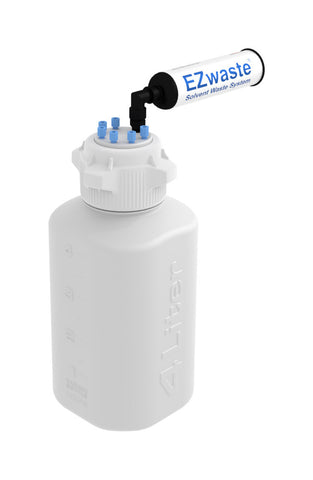 EZwaste® HD  Safety Vent Bottle 4L HDPE with VersaCap® 83mm, 6 Ports for 1/8'' OD Tubing and a Chemical Exhaust Filter - SolventWaste.com