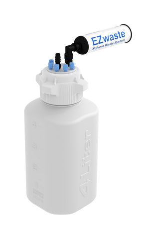 "EZwaste® HD Safety Vent Bottle 4L HDPE with VersaCap® 83mm, 6 ports for 1/8"" OD Tubing, 1 port for 1/4"" HB or 3/8""HB - SolventWaste.com"