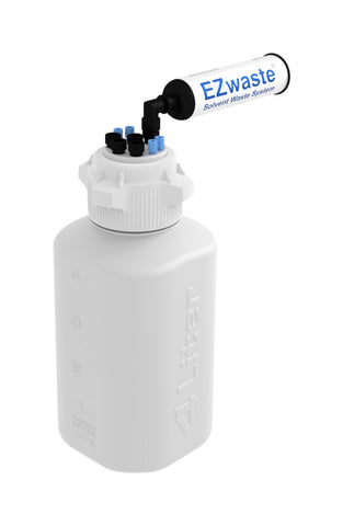 "EZwaste® HD Safety Vent Bottle 4L HDPE with VersaCap® 83mm, 4 ports for 1/8"" OD Tubing, 4 ports for 1/4"" OD Tubing - SolventWaste.com"