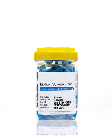 EZFlow® 13mm Syringe Filter, .45µm Hydrophilic PVDF, 100/pack