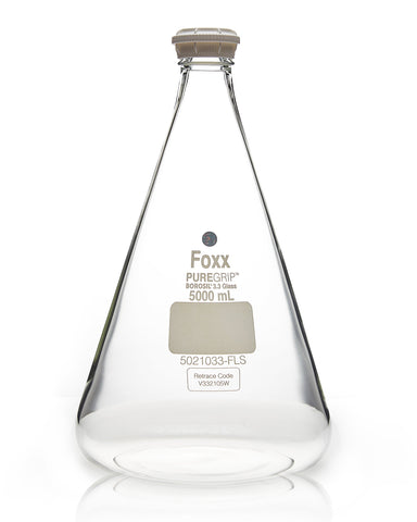 PUREGRIP® Erlenmeyer / Conical Flasks with GL45 Screw Cap 5000 mL 2/Case - SolventWaste.com