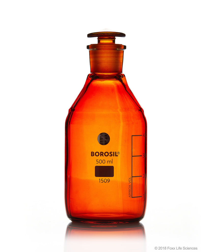 Borosil® Amber Reagent Bottles - Plain - Narrow Mouth - Graduated 500 mL - 24/29 CS/10 - SolventWaste.com