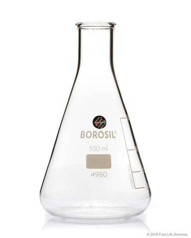 Borosil® Erlenmeyer Conical Flasks Narrow Mouth I/C Stopper 500mL - SolventWaste.com
