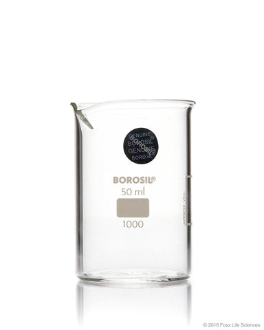Borosil® Beaker Griffin Low Form with Spout Graduated ISO 3819 Borosilicate 50mL CS/60 - SolventWaste.com