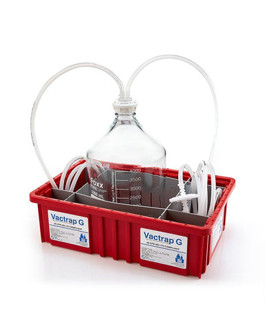 "Vactrap™ G, 5L, Glass Carboy, Red Bin, GL45 Cap w/1/4"" ID Tubing"