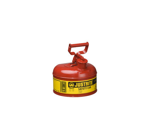 Type I Steel Safety Can for flammables, 1 gallon (4L), S/S flame arrester, self-close lid - SolventWaste.com