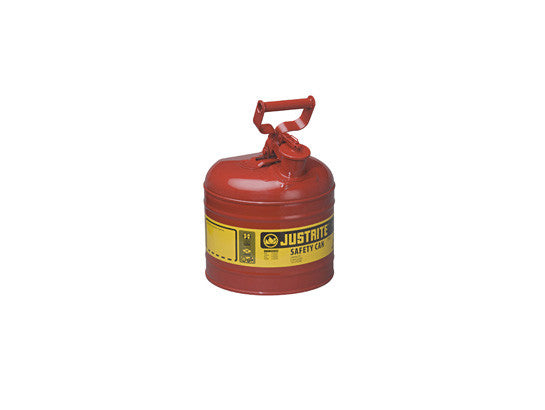 TYPE I STEEL SAFETY CAN FOR FLAMMABLES, 2 GALLON (7.5L), S/S FLAME ARRESTER, SELF-CLOSE LID - SolventWaste.com