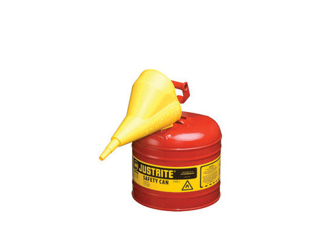 TYPE I STEEL SAFETY CAN FOR FLAMMABLES, WITH FUNNEL, 2 GALLON (7.5L), S/S FLAME ARRESTER, SELF-CLOSE LID - SolventWaste.com
