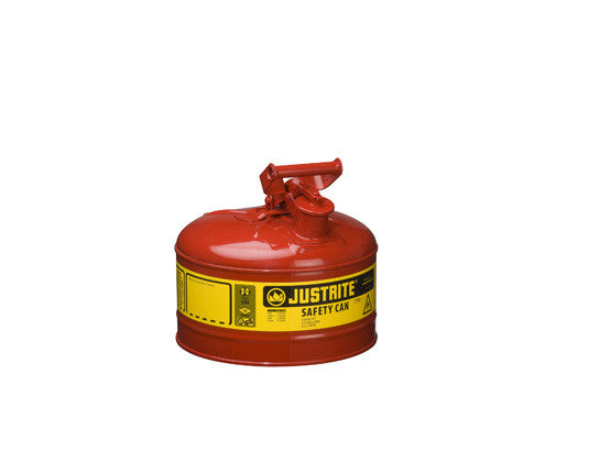 Type I Steel Safety Can for flammables, 2.5 gallon (9.5L), S/S flame arrester, self-close lid - SolventWaste.com