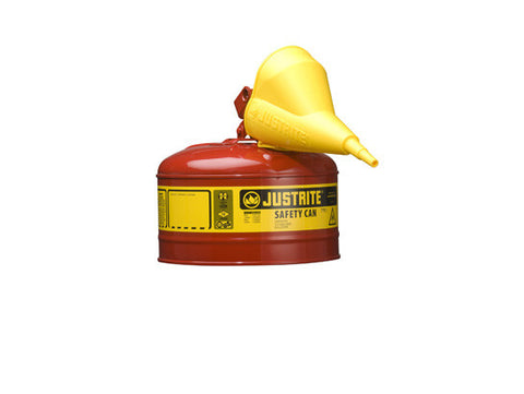 Type I Steel Safety Can for flammables, with Funnel, 2.5 gallon (9.5L), S/S flame arrester, self-close lid - SolventWaste.com