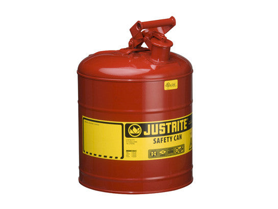 Type I Steel Safety Can for flammables, 5 gallon (19L), S/S flame arrester, self-close lid - SolventWaste.com