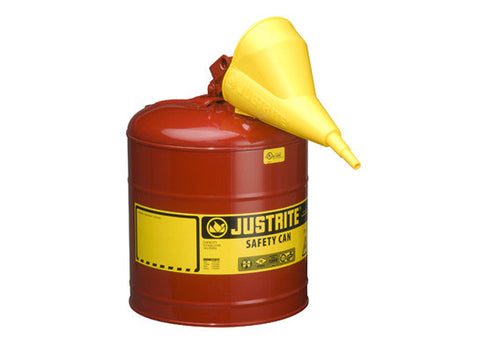 TYPE I STEEL SAFETY CAN FOR FLAMMABLES, WITH FUNNEL, 5 GALLON (19L), S/S FLAME ARRESTER, SELF-CLOSE LID - SolventWaste.com