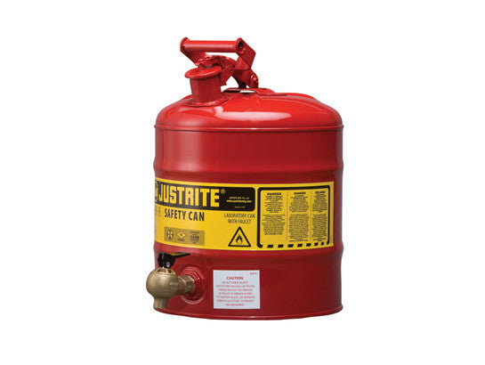 Type I Shelf Safety Can, 5 gallon, bottom 08540 faucet, S/S flame arrester, Steel - SolventWaste.com