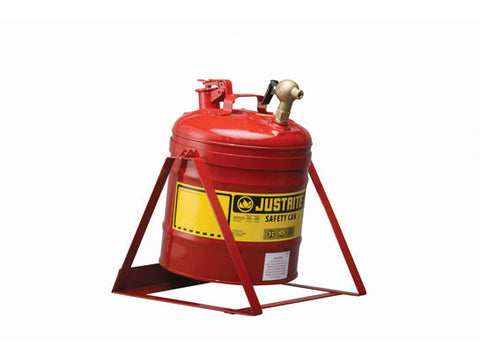 Type I Tilt Safety Can with Stand, 5 gallon, top 08540 faucet, S/S flame arrester, Steel - SolventWaste.com