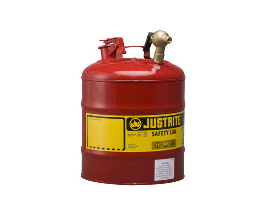 Type I Dispensing Safety Can, 5 gallon, top 08540 brass faucet, S/S flame arrester, Steel - SolventWaste.com