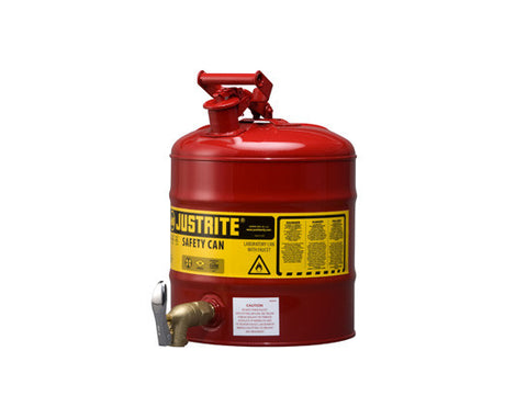 Type I Shelf Safety Can, 5 gallon, bottom 08902 faucet, S/S flame arrester, Steel - SolventWaste.com