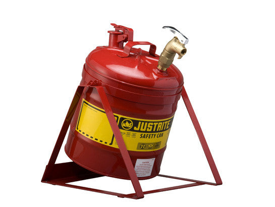 Type I Tilt Safety Can with Stand, 5 gallon, top 08902 faucet, S/S flame arrester, Steel - SolventWaste.com