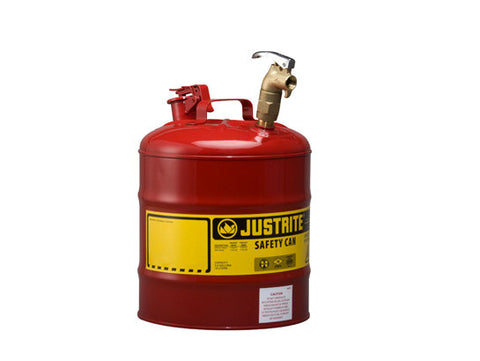 Type I Dispensing Safety Can, 5 gallon, top 08902 brass faucet, S/S flame arrester, Steel - SolventWaste.com