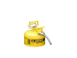 "Type II AccuFlow™ Steel Safety Can for flammables, 1 gal., S/S flame arrester, 5/8"" metal hose - SolventWaste.com"