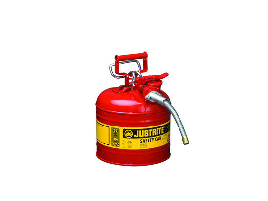 "Type II AccuFlow™ Steel Safety Can for flammables, 2 gal., S/S flame arrester, 5/8"" metal hose - SolventWaste.com"