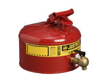 Type I Shelf Safety Can, 2.5 gallon, bottom 08540 faucet, S/S flame arrester, Steel - SolventWaste.com