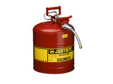 "Type II AccuFlow™ Steel Safety Can for flammables, 5 gal., S/S flame arrester, 5/8"" metal hose - SolventWaste.com"