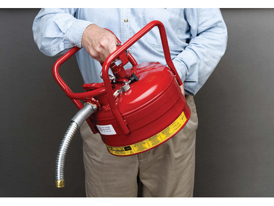 "Type II AccuFlow™ D.O.T. Steel Safety Can, 2.5 gal., 1"" metal hose, flame arrester, roll bars - SolventWaste.com"