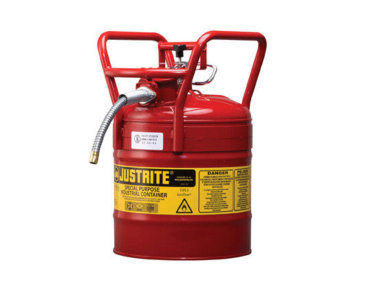 "Type II AccuFlow™ D.O.T. Steel Safety Can, 5 gal., 5/8"" metal hose, flame arrester, roll bars - SolventWaste.com"
