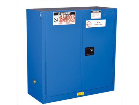 ChemCor® Hazardous Material Safety Cabinet, Cap. 30 gal., 1 shelf, 2 self-close doors - SolventWaste.com