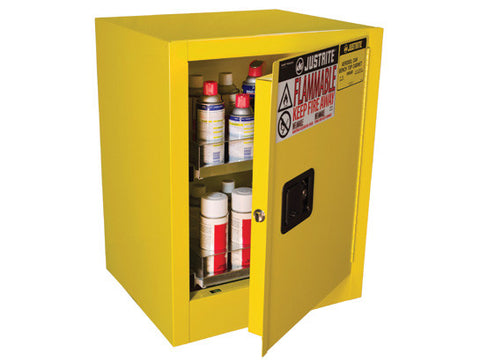 Sure-Grip® EX Benchtop Flammable Safety Cabinet, Cap. 24 aerosol cans, 2 drawers, 1 m/c door - SolventWaste.com