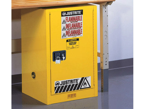 Sure-Grip® EX Compac Flammable Safety Cabinet, Cap. 12 gallons, 1 shelf, 1 s/c door - SolventWaste.com