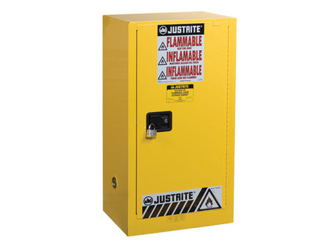 Sure-Grip® EX Compac Flammable Safety Cabinet, Cap. 15 gallons, 1 shelf, 1 s/c door - SolventWaste.com