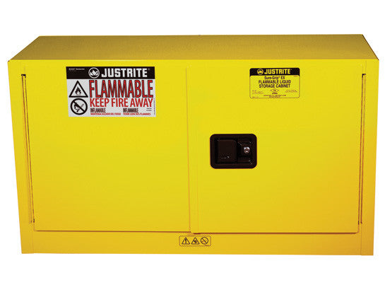 Sure-Grip® EX Piggyback Flammable Safety Cabinet, Cap. 17 gallons, 1 shelf, 2 s/c doors - SolventWaste.com