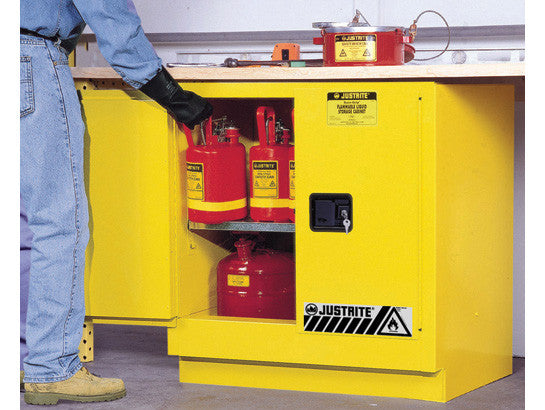 Sure-Grip® EX Undercounter Flammable Safety Cabinet, Cap. 22 gallons, 1 shelf, 2 m/c doors - SolventWaste.com