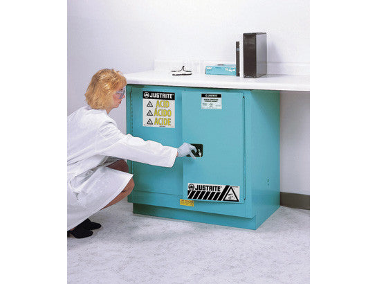 ChemCor® Undercounter Corrosives/Acids Safety Cabinet, Cap. 22 gallons, 1 shelf, 2 m/c doors - SolventWaste.com