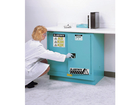 Sure-Grip® EX Undercounter Corrosives/Acid Stl Safety Cabinet, Cap. 22 gal., 1 shelf, 2 s/c doors - SolventWaste.com