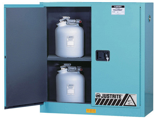 ChemCor® Corrosives/Acids Safety Cabinet, Cap. 30 gallons, 1 shelf, 2 manual-close doors - SolventWaste.com