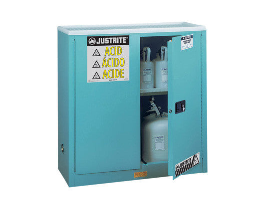 "Sure-Grip® EX Corrosives/Acid Stl Safety Cabinet, Dims. 44""H, Cap. 30 gal., 1 shelf, 2 m/c doors - SolventWaste.com"