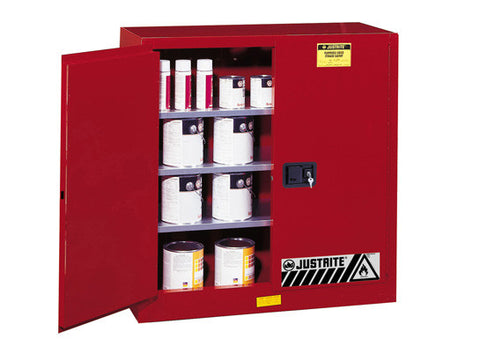 Sure-Grip® EX Combustibles Safety Cabinet for paint and ink, Cap. 40 gal., 3 shelves, 2 m/c doors - SolventWaste.com