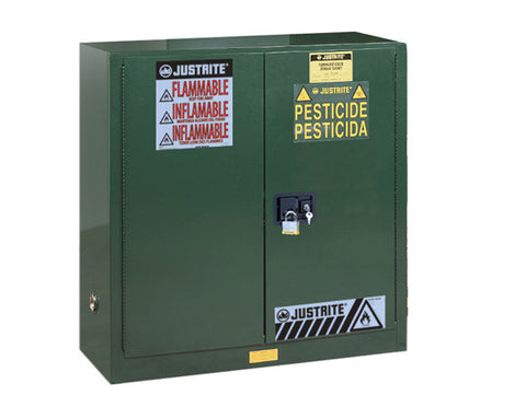 Sure-Grip® EX Pesticides Safety Cabinet, Cap. 30 gallons, 1 shelf, 2 self-close doors - SolventWaste.com