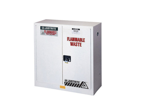 Flammable Waste Safety Cabinet, Steel, Cap. 30 gallons, 1 shelf, 2 self-close doors - SolventWaste.com