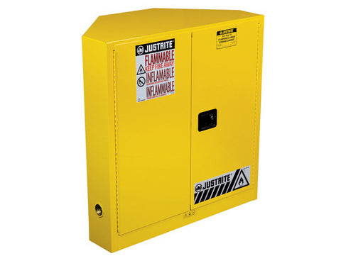 SURE-GRIP® EX CORNER FLAMMABLE SAFETY CABINET, CAP. 30 GALLONS, 1 SHELF, 2 M/C DOORS - SolventWaste.com