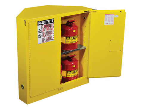 SURE-GRIP® EX CORNER FLAMMABLE SAFETY CABINET, CAP. 30 GALLONS, 1 SHELF, 2 S/C DOORS - SolventWaste.com