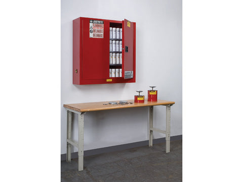 Sure-Grip® EX Wall Mount Aerosol Can Safety Cabinet, Cap. 20 gallons, 3 shelves, 2 m/c doors - SolventWaste.com