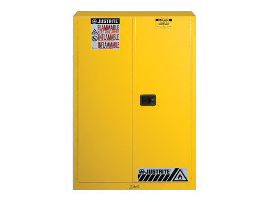 Sure-Grip® EX Flammable Safety Cabinet, Cap. 45 gallons, 2 shelves, 2 manual-close doors - SolventWaste.com