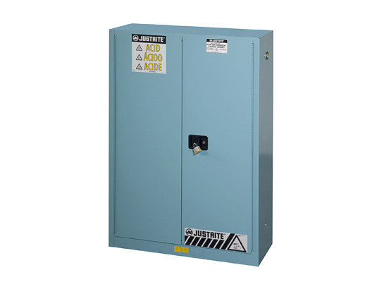 ChemCor® Corrosives/Acids Safety Cabinet, Cap. 45 gallons, 2 shelves, 2 manual-close doors - SolventWaste.com